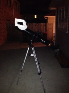 Trying it out. It was a bit heavy at this stage, and overbalanced my telescope