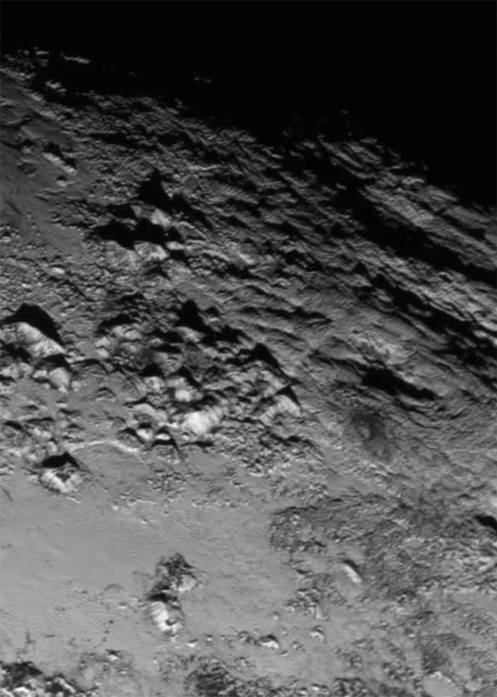 Zoomed in on Tombaugh Regio, Pluto (rotated 90 degrees counterclockwise) | Photo by NASA