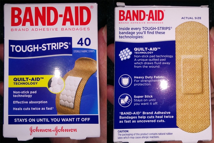 Band-Aid packaging, front and back.